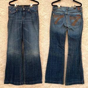 7FAM orange thread dojo flare jeans
